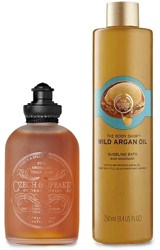 Bathing oil and argan oil bubble bath
