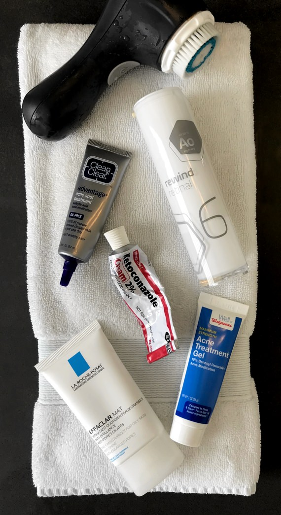 Five products the author uses daily to keep his skin in peak condition.