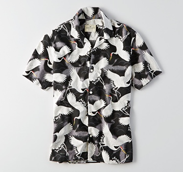 American Eagle Men's Chinoiserie Printed Shirt
