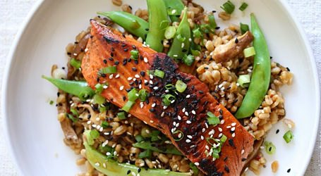 Asian Farro Medley with Salmon recipe