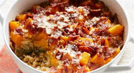 Baked Farro with Bacon and Butternut Squash recipe