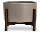 TRNK Case Study Stoneware and Walnut Planter