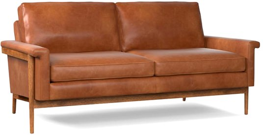 West Elm Leather and Wood Loveseat