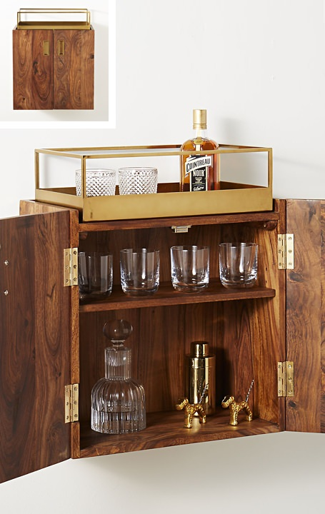 CB2 Wall Mounted Bar Cabinet