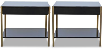 Design Freres Lacquer and Brass Nightstands