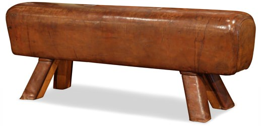 Antique Leather Pommel Horse Bench