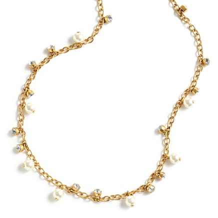 J.Crew Pearl and Crystal Long Necklace