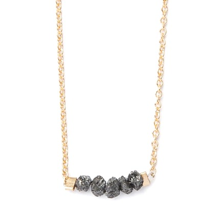 Julia Szendrei Black Rough Diamond Bridge Necklace