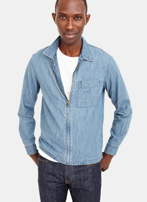 J.Crew Demim Zippered Overshirt