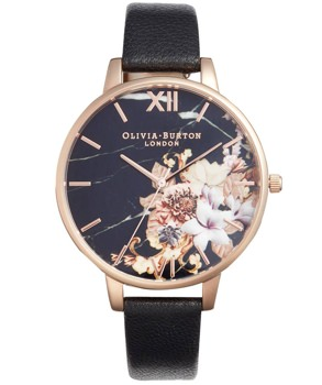 Oliva Burton Marble and Rose Gold Watch