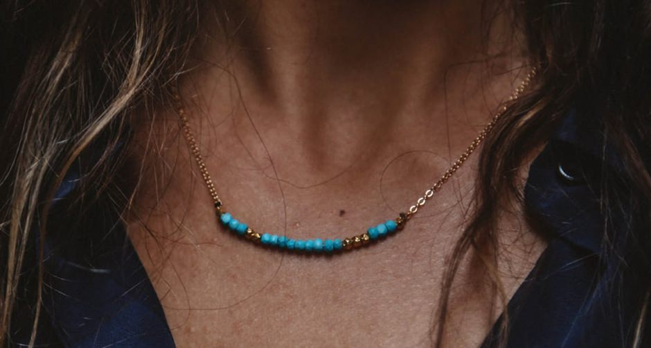 Julia Szendrei Turquoise Morse Code Love Necklace