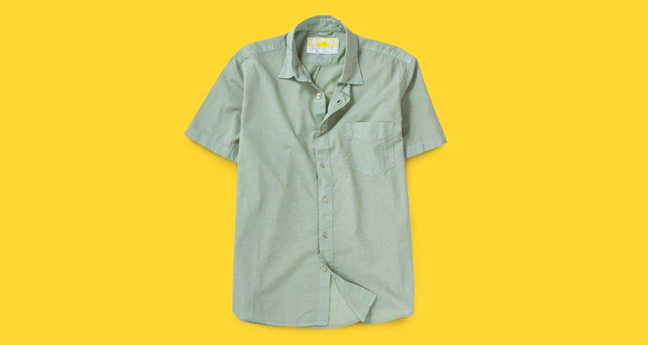 Sunshine Blues Garment-Dyed Cotton Shirt