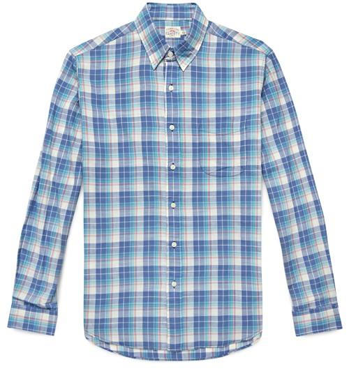 Faherty Indigo Plaid Shirt