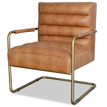 Apt2B Leather and Copper Lounge Chair