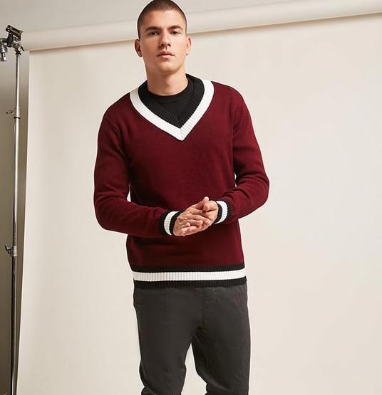 Forever 21 Contrast Stripe V-Neck Sweater