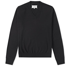 Maison Margiela Cotton and Wool Compass V-Neck Sweater