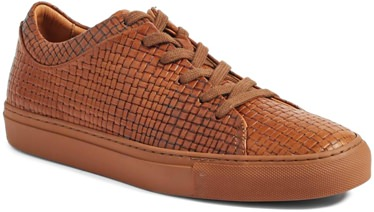 Aquatalia Embossed Calfskin Gum Sole Sneakers