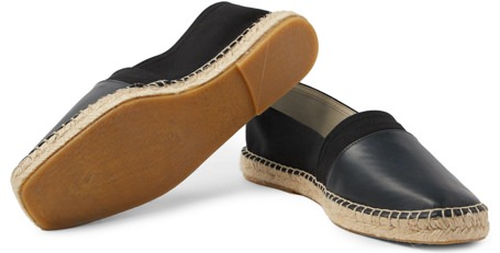 Orlebar Brown Sutton Leather and Canvas Espadrilles
