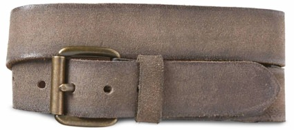 John Varvatos Grey Waxed Suede Belt
