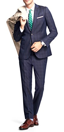 Brooks Brothers Plaid Stretch Modern-Fit Suit