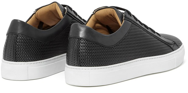 Aquatalia Andre Textured Calfskin Lace-Up Sneakers