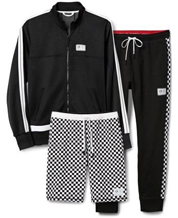 GapFit x Ovadia+ track jacket, checker print joggers and shorts