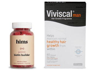 Hims Biotin Gummy Vitamins and Vivscal Hair Growth Supplements