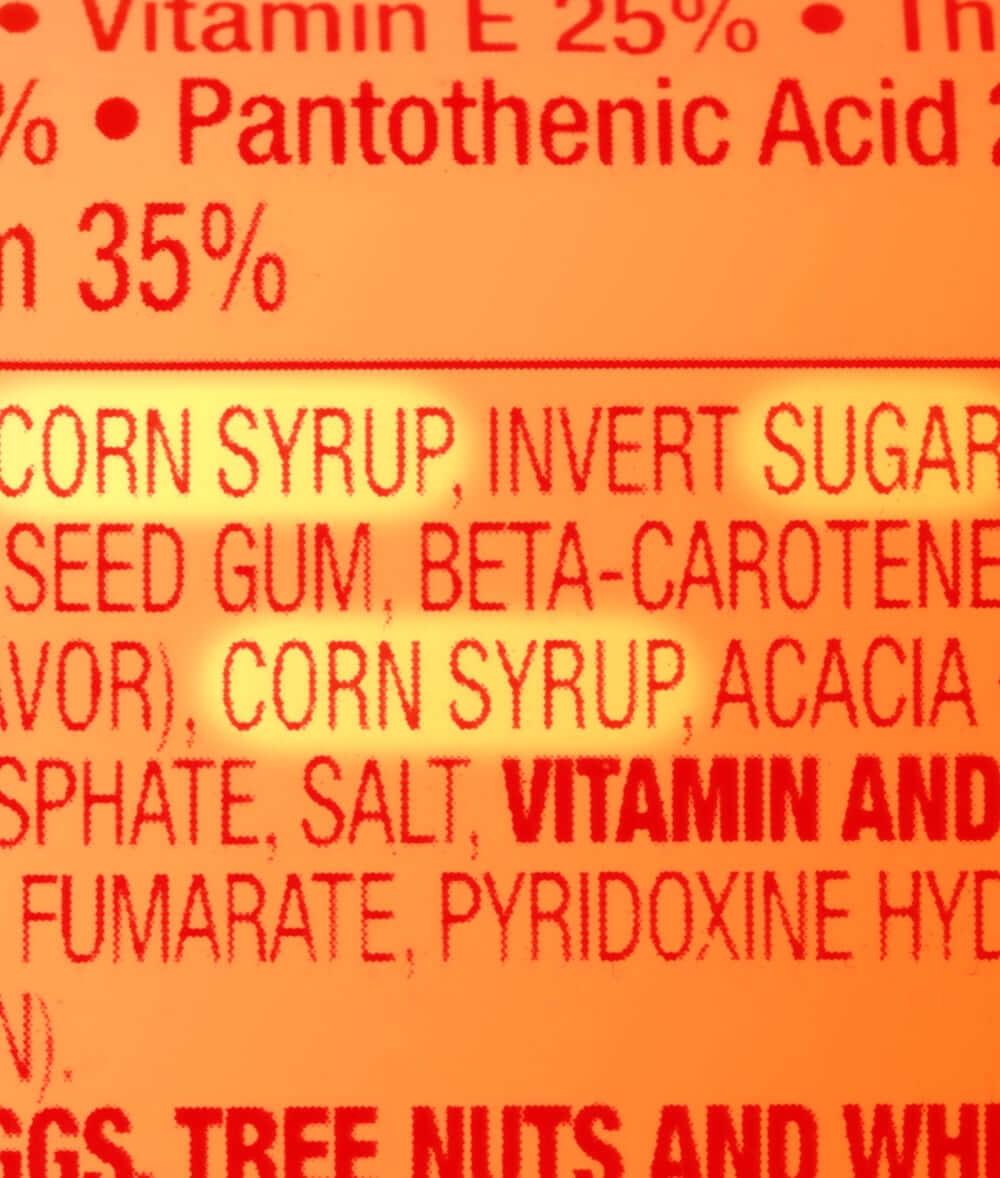 Sugar on a nutrition label
