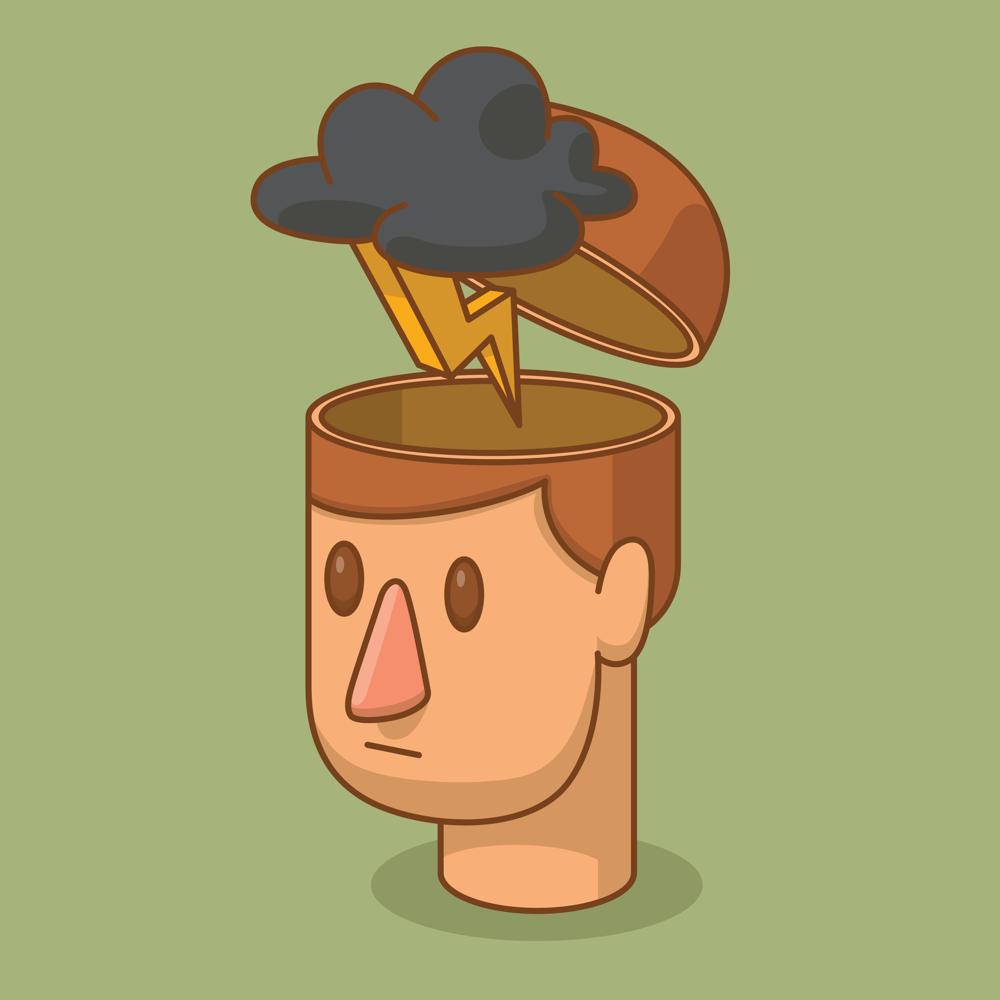 Man experiencing stress illustration