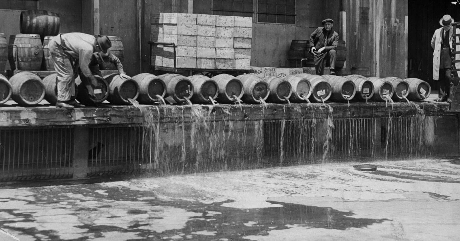 Alcohol Prohibition raid in the 1920s