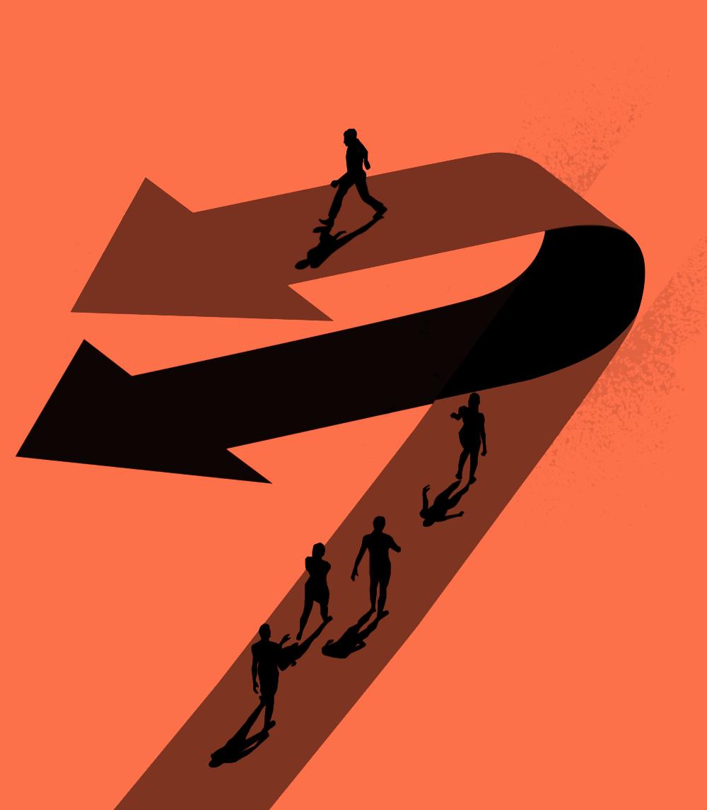 Changing direction illustration