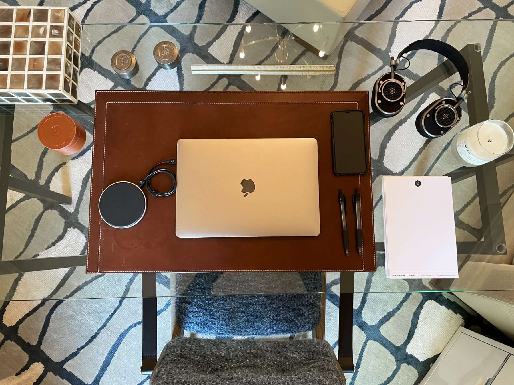 Work desk of Master & Dynamic founder and CEO Jonathan Levine