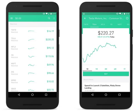 Robinhood for iOS and Android