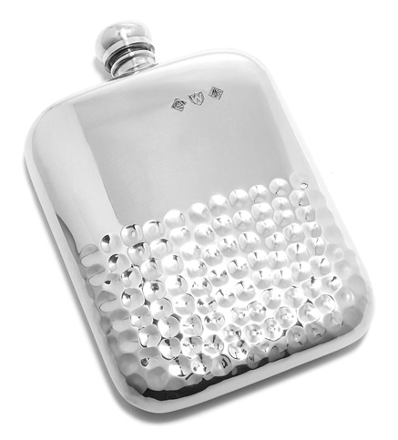 BarMe Hammered English Pewter Flask