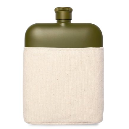 Izola Matte Stainless Steel Flask with Canvas Sleeve