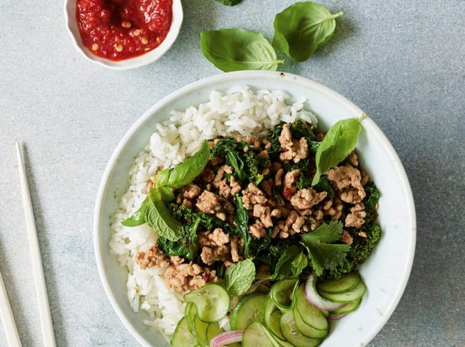 Chicken Larb With Coconut Rice Bowl recipe