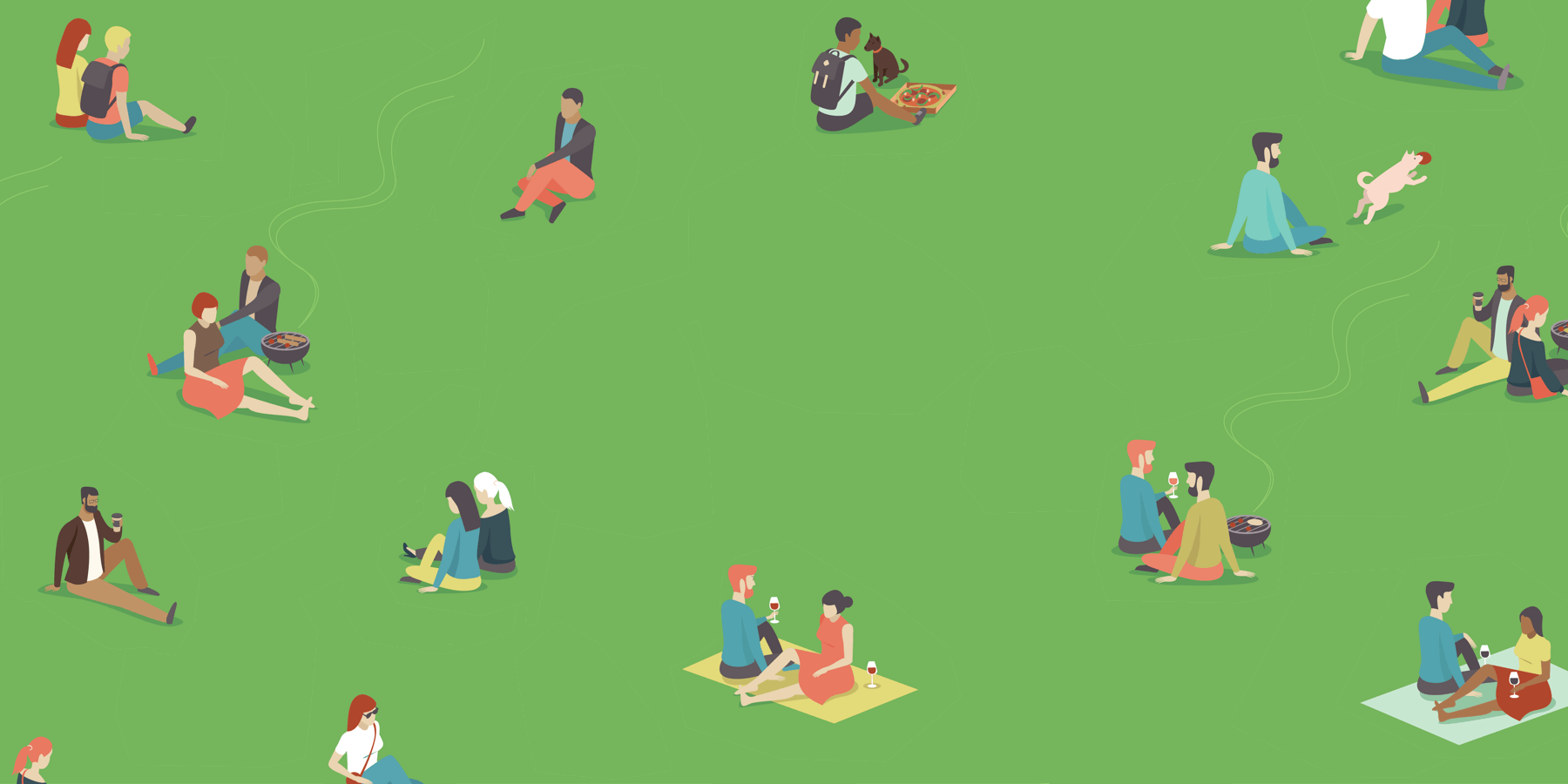 Outdoor drinking in the park illustration