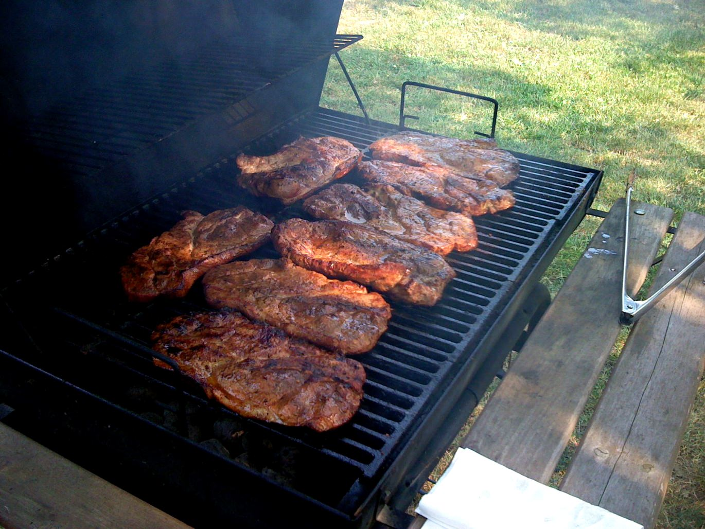 Grilling pork steaks