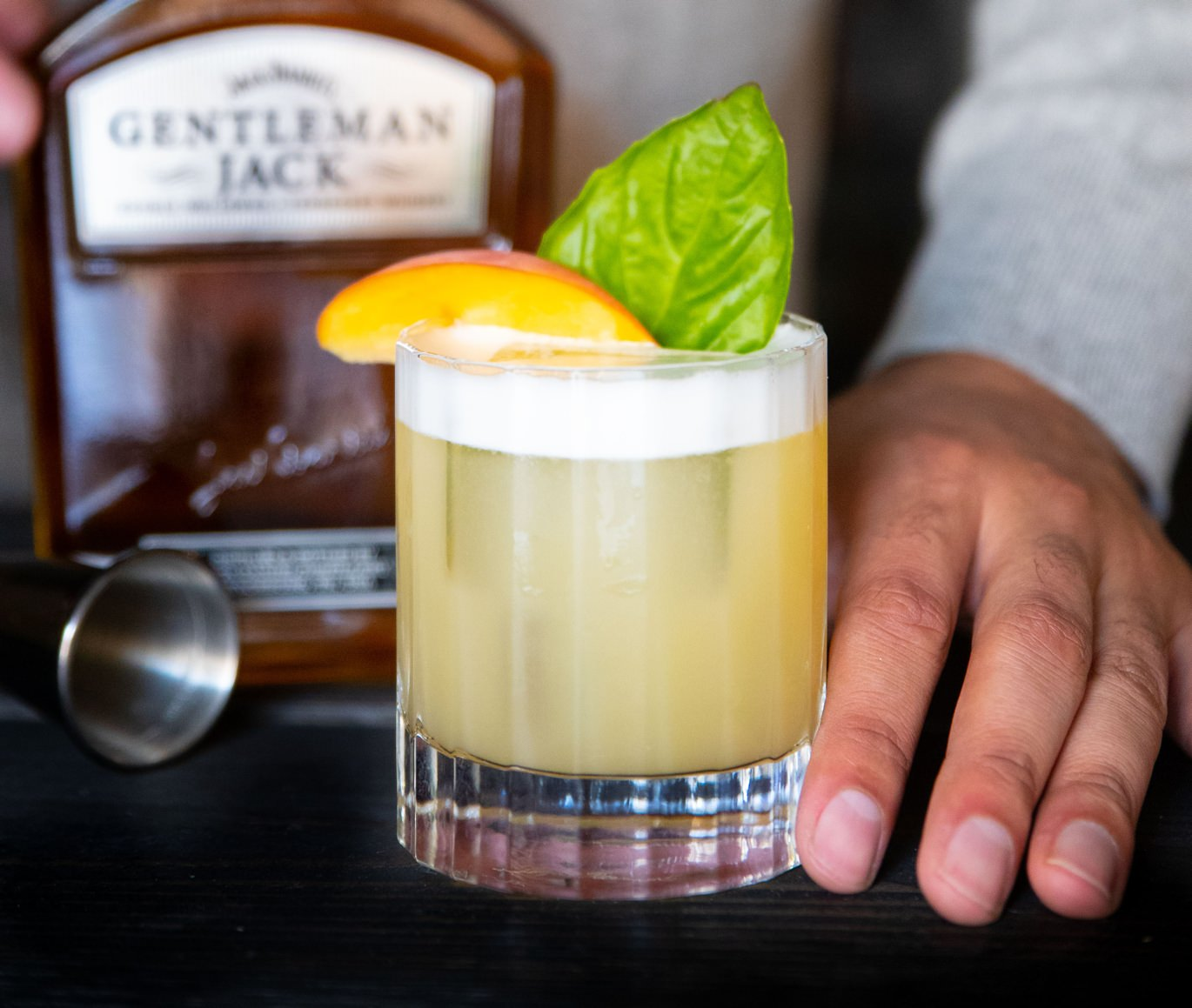 The Peach Basil Whiskey Sour cocktail recipe