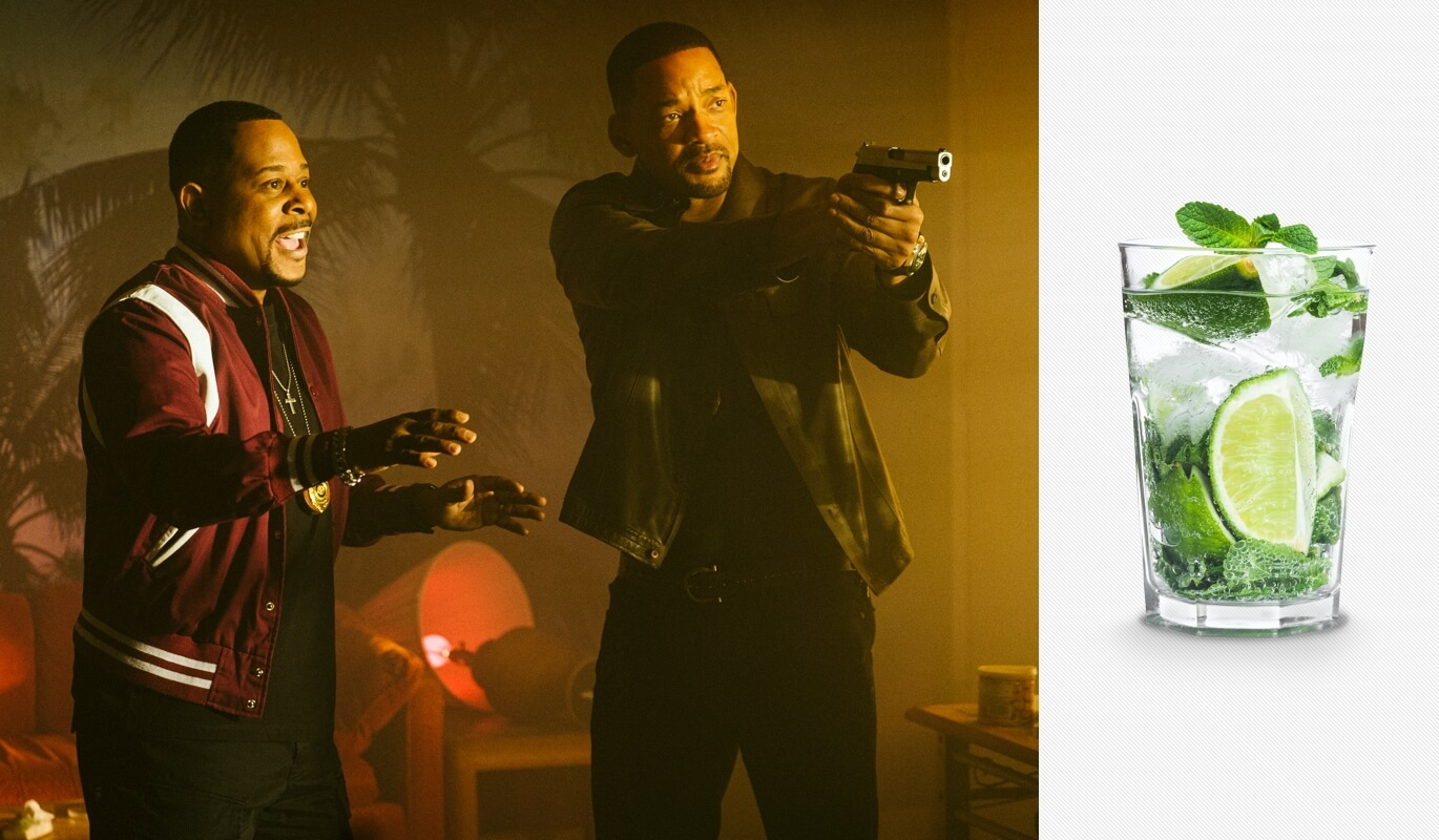 Bad Boys For Life movie and a mojito cocktail