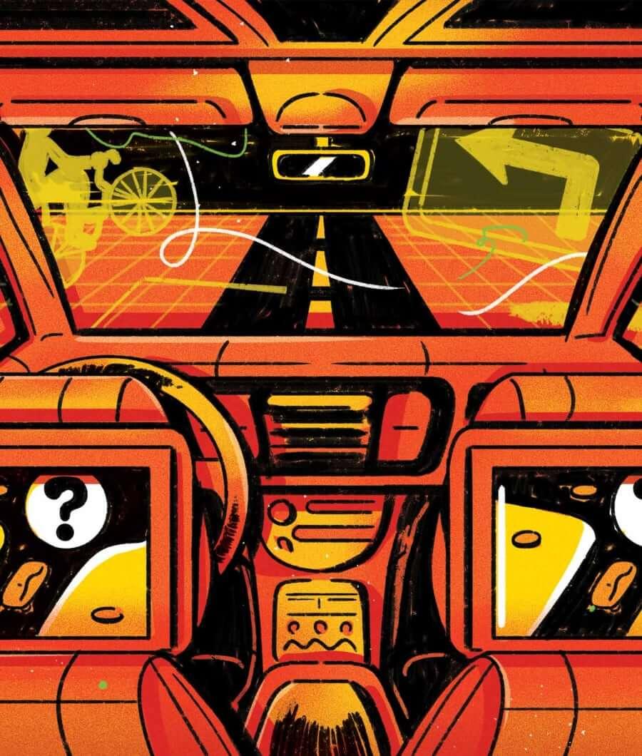 Autonomous vehicle interior illustration