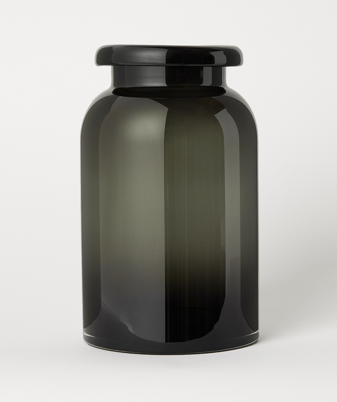 H&M Large Smoke Glass Vase