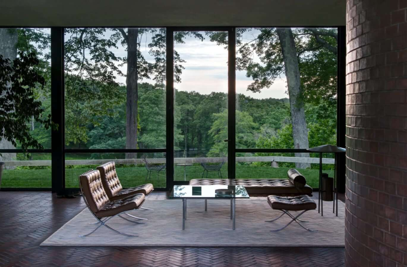 Barcelona daybed in Philip Johnson's Glass House