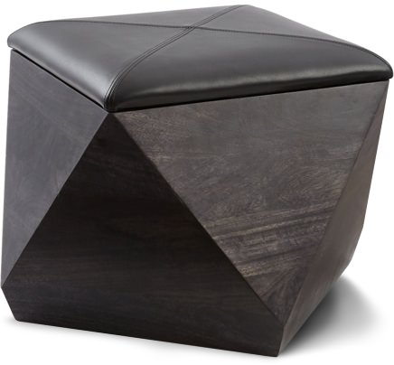 CB2 Wood and Leather Storage Ottoman