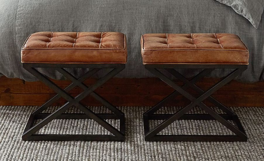 Pottery Barn Tufted Leather and Steel Stool
