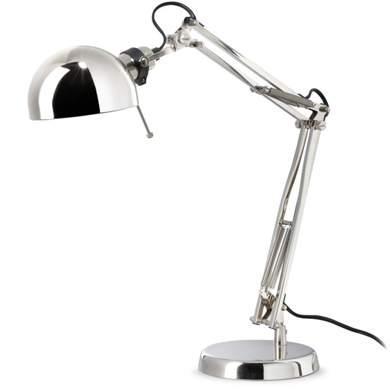 Ikea Nickel-Plated Forsa Work Lamp