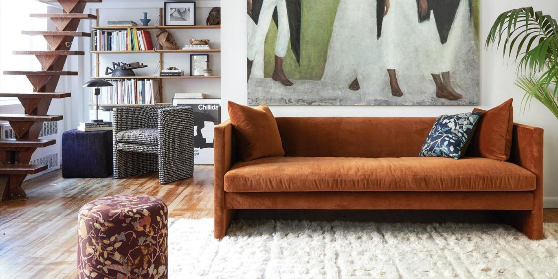 TRNK Angle Sofa in Havana Velvet
