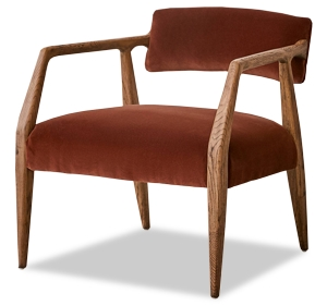Urban Outfitters Oak and Velvet Arm Chair