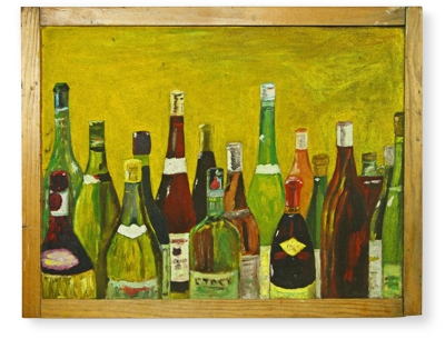Vintage Wine Bottle Painting