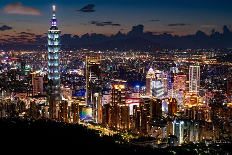 Taipei City skyline at night